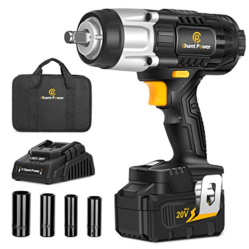 "20V Cordless Impact Wrench with 1/2"" Chuck, Strong Motor Max Torque 450N.m, 4.0Ah Lithium-ion Battery, Variable Speed, 4PCS Sockets, Fast Charger and Tool Bag Included, C P CHANTPOWER"