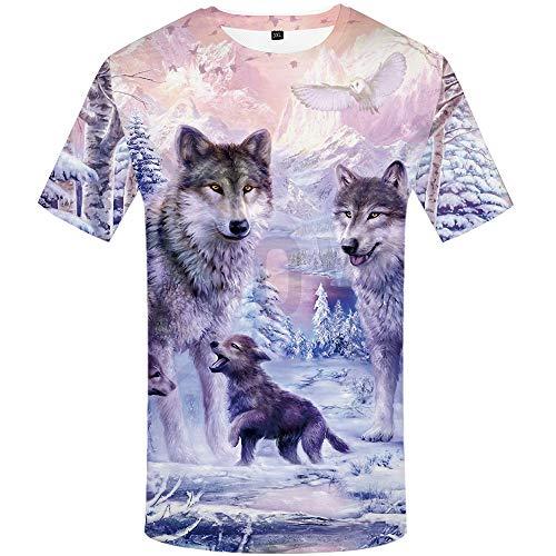 Zaima 3D Men's Summer Wolf Digital Print T-Shirt Round Neck Short Sleeve