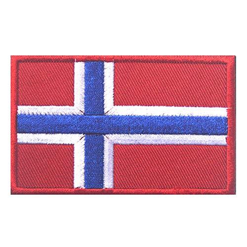 Aufnäher mit Norwegen-Flagge, bestickt, zum Aufnähen oder Aufbügeln, mit Klettverschluss.