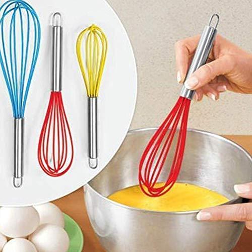 Batidor de huevos batidor de cocina mezclador de globo de alambre de huevo herramienta batidor 1 mango de silicona batidor de color aleatorio lucar