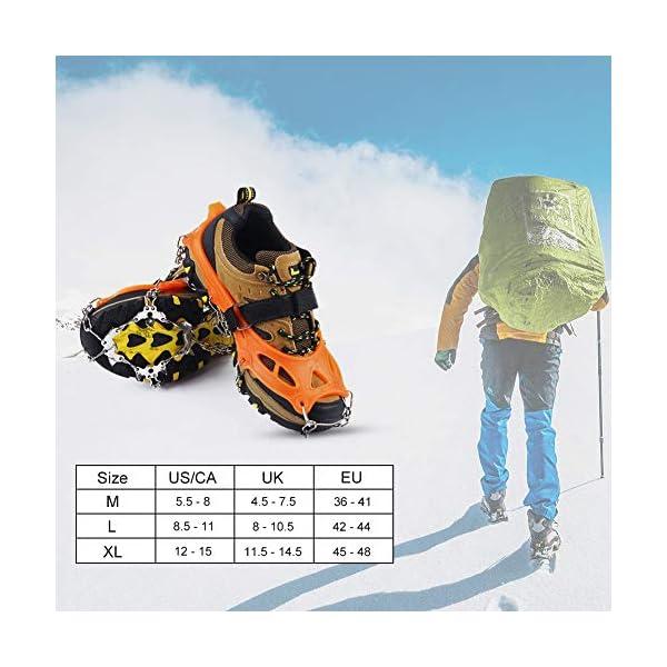 Casimy Crampones Ligero de Nieve Hielo 19 Puntas Dientes De Acero Zapatos Bota De Senderismo Resistente Antideslizante… 1