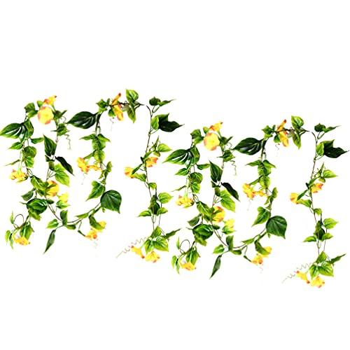 HEALLILY 2 Piezas de Flores Artificiales de La Mañana Viñas Artificiales Flores Artificiales Colgantes Plantas Flores de Seda para El Hogar Guirnalda Decoración para La Pared del Jardín