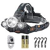 Rechargeable flashlight led headlamp, Boruit RJ-3000 headlamp 4 modes 5000 high lumens water resist Led headlight for camping hiking