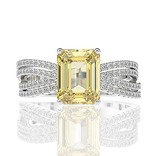 Overvloedi Anillo de Diamantes con Piedras Preciosas de Citrino de Talla Esmeralda Anillo de Compromiso de Boda para Mujer 5 Amarillo