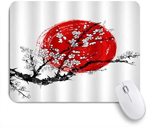 Dekoratives Gaming-Mauspad,Klassische Kirschbaumkunst Sakura in der Blüte und im roten Sonnensymbol von Japan,Bürocomputer-Mausmatte mit rutschfester Gummibasis