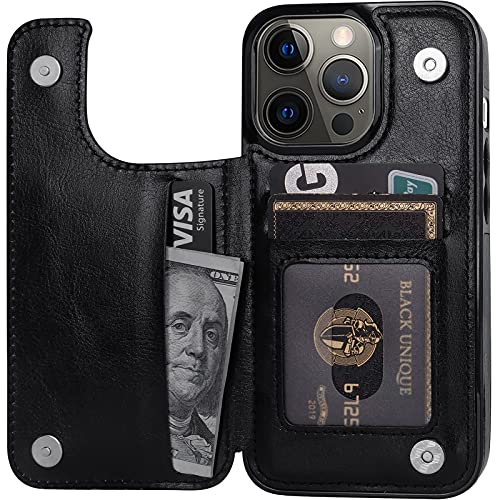 """Cardpakee for iPhone 13 Pro Wallet Case with Card Holder, Faux Leather Kickstand Card Slots Case, Handmade RFID Blocking Magnetic Shockproof Protective Slim Back Flip Phone Case 2021 6.1"""" Black"""