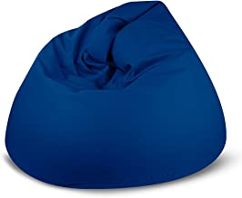BAGZO LEATHER RELAXING CHAIR LARGE COMFY BEAN BAG BLUE