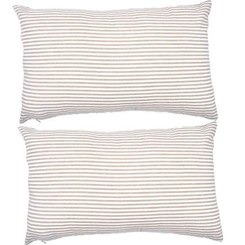 Federa in cotone a righe decorative rettangolari per casa, auto, ufficio, club lombare, 45,7 x 45,7 cm, beige e bianco