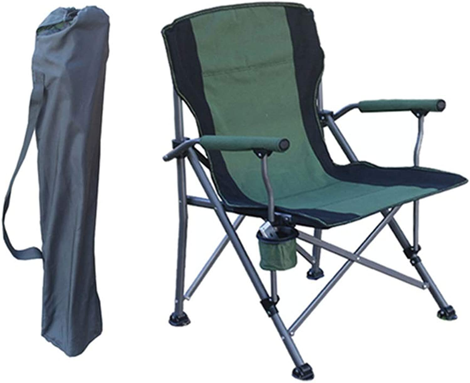 Lounge Chairs Folding Camping Recliner Portable Chair Beach Fishing Barbecue with Cup Holder, Bearing 120kg, Green