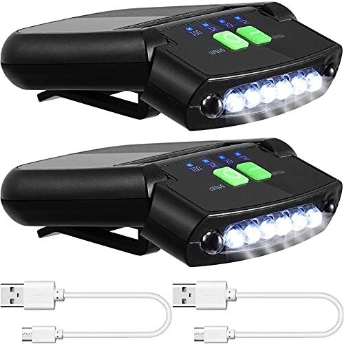 EElabper Clip Sombrero De Luz del Faro Led Situado En Cap Linterna Recargable Luces Tapa del Conector USB para Camping Pesca Viajar 2 Piezas