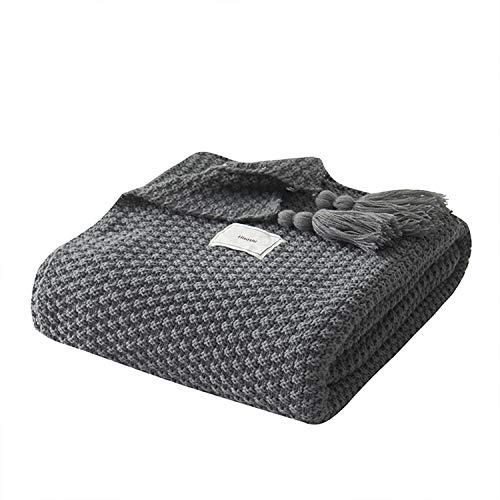 AUSTINCIAGA - Coperta in maglia, plaid per divano, copriletto, coperta da letto nordico, calda, morbida con frange, fatta a mano, per spiaggia, tutte le stagioni, Acrilico, grigio, 130 x 170 cm