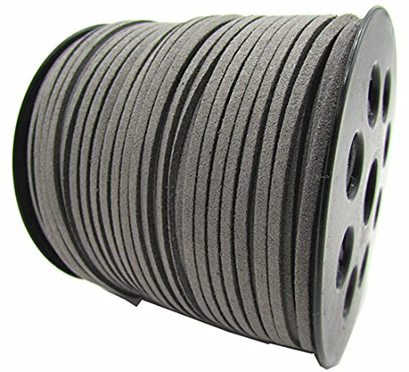 100 Yards Jewelry Making Flat Micro Fiber Lace Faux Suede Leather Cord (12 Colors) (Gray)