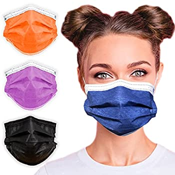 3-Ply Breathable Disposable Face Mask  Denim Blue  - Made in USA - Comfortable Elastic Ear Loop | Non-Woven Polypropylene | Block Dust & Air Pollution | For Business and Personal Care  50pcs
