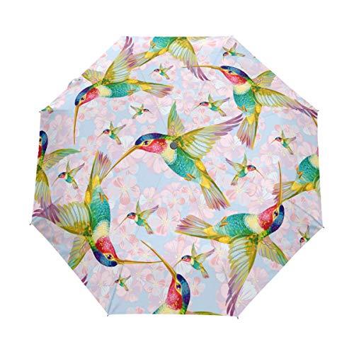Bigjoke Regenschirm, 3-Fach faltbar, automatisch, mit Blumenmuster, Vogel-Muster, Winddicht, für Jungen, Mädchen, Männer, Frauen