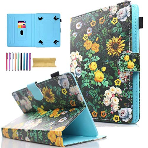 Universal 7.0' Tablet Case, AMOTIE Wallet Stand Cover w/Credit Card Slots for Samsung Galaxy Tab E 7.0/ Tab A 7.0/ Fire 7.0 2015 2017/ Lenovo/RCA and More 6.5-7.5 inch Tablet, Chrysanthemum