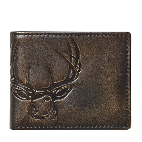 HOJ Co. DEER Bifold Wallet with Flip ID   Full Grain Leather With Hand Burnished Finish   Extra Capacity Men's Leather Wallet   Deer Wallet…