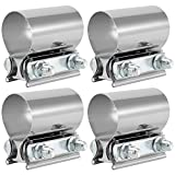 ZOENHOU 4 PCS 2 Inch Butt Joint Exhaust Band Clamp, 304 Stainless Steel Exhaust Band Clamp Sleeve for Exhaust Pipe, Muffler, Headers, Manifolds, Coupler