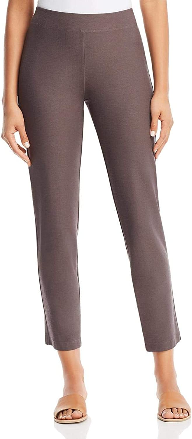Eileen Fisher Womens Petites Slim Fit Stretch Ankle Pants Brown PP PTP