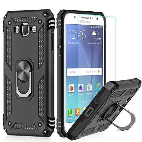 Galaxy J7 Case, Galaxy J7 2015/ SM-J700 Case with HD Screen Protector, LeYi [Military Grade] Rotating Holder Kickstand Full-Body Protective Phone Cover Case for Samsung Galaxy J7 2015, JSFS
