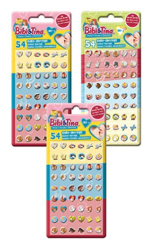 Craze BIBI UND Tina Klebeohrringe Kinder Ohrringe zum Aufkleben Sticker Earrings 162 Stück im Set 14424, unisex-child, bunt