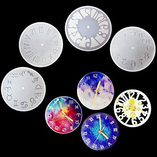 iSuperb 4 piezas Reloj Molde de resina Números romanos Constelación Molde Resina DIY Resin Mold Epoxi para Pendiente Fabricación de Joyas (4 pcs Large)