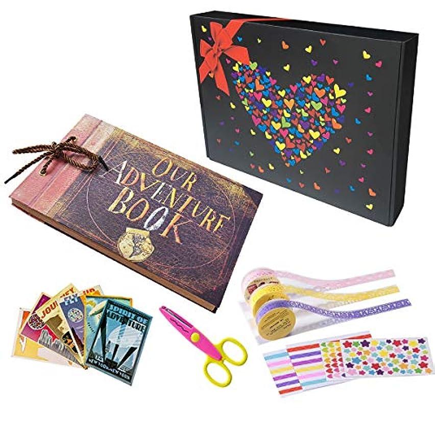 Pulaisen Our Adventure Book Scrapbook,up Movie DIY Anniversary Handmade DIY Family Retro Photo Album Scrapbook with Storage Gift Box
