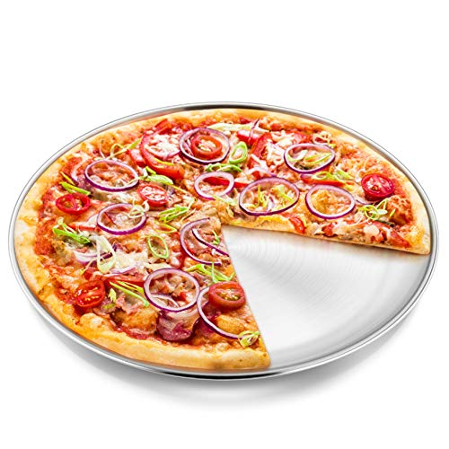13½ inch Pizza Pan, P&P CHEF Pizza Tray, Stainless Steel Round Pizza Plate for Baking Serving Roasting, Non-toxic & Healthy, Heavy Duty & Durable