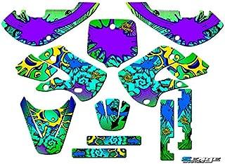 Senge Graphics kit compatible with Kawasaki 2002-2009 KLX 110, Zany Green, Complete Graphics Kit