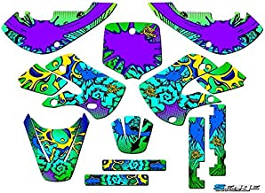 Senge Graphics kit compatible with Kawasaki 2002-2009 KLX 110, Zany Green, Complete Graphics Kit
