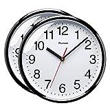 Plumeet 25 cm Reloj de Cuarzo de Pared silencioso, Decorativo para el hogar/la Cocina/la Oficina/la Escuela, fácil Leer y con Pilas (Dos Negro)