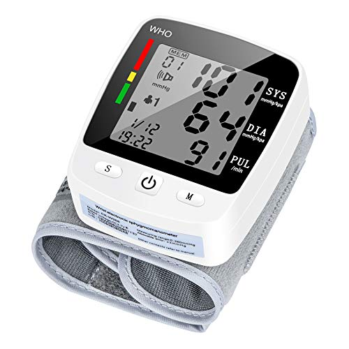 Wrist Blood Pressure Monitor, OMKER Blood Pressure Cuff with USB Charging, Automatic Digital BP Machine, Automatic Digital BP Machine,Voice Broadcast, Large Display Screen