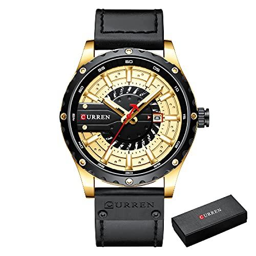 Legxaomi Relojes de los hombres de la moda, impermeable de la marca superior de lujo calendario de los hombres, hombres de cuero deportes relojes militares, los mejores regalos para los hombres G-BOX