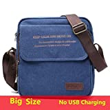 Mdsfe Hombre Urban Daily Carry Bag Men Canvas Shoulder Bag Casual Travel Hombre Crossbody Bag Male Messenger Bags 3 Tamaño - blue1 no USB