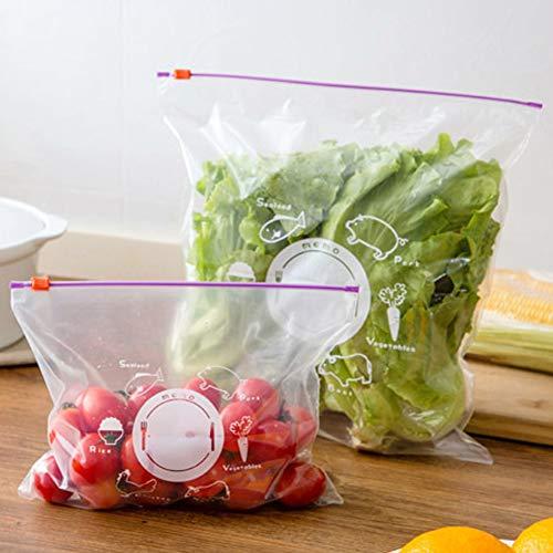 10 bolsas de almacenamiento reutilizables y lavables para congelador, 5 grandes y 5 pequeñas, con cierre de cremallera, Transparente, 5l+5s