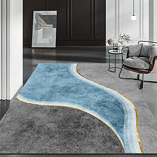 alfombras de Salon Modernas Alfombra Azul, bebé a Prueba de Humedad Que se arrastra cómoda Alfombra de la Alfombra de Yoga alfombras antiacaros -Azul_160x230cm