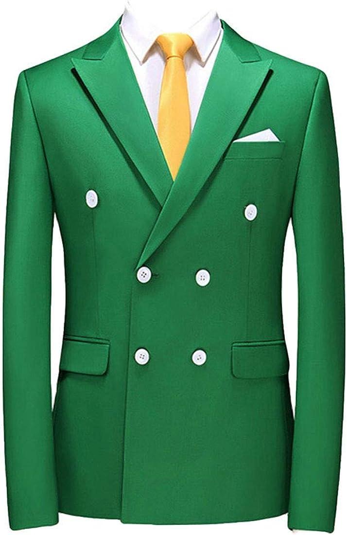 Mens Business Solid Double-Breasted Work Slim Blazer Jacket Sport Coat