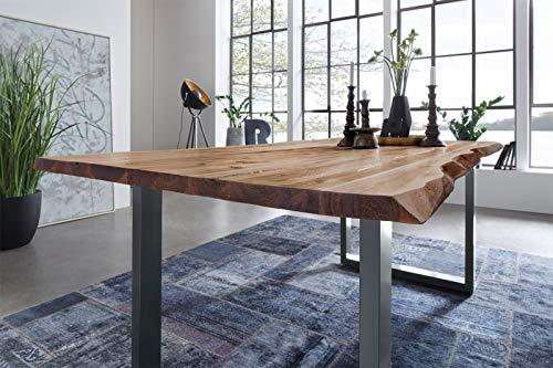SAM Esszimmertisch 180 x 90 cm Mephisto, Baumkantentisch naturfarben, Akazienholz massiv, U-Gestell aus Metall Silber