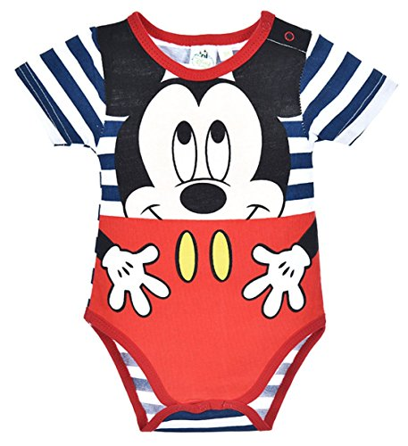 Body rayé bébé garçon manches courtes Mickey Rouge et Marine de 3 à 23mois (12 mois, Rayé blanc/marine)