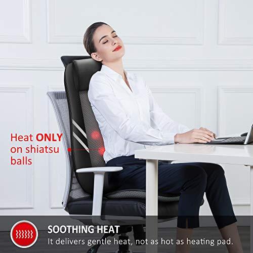 Snailax Back Massager with Heat,Shiatsu Massage Seat Cushion,8 Flexible Nodes Massage for Full Back Massage Chair Pad,Chair Massager for Office,Home Use