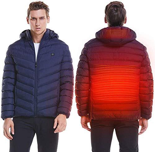 CHNDR winterjas met verwarmde winter, elektrische verwarming in de open lucht, wandelende jacht, campingjas, infraroodverwarming warme kleding, met USB-aansluiting, licht verwarmd voor heren, voor skiën, blauw