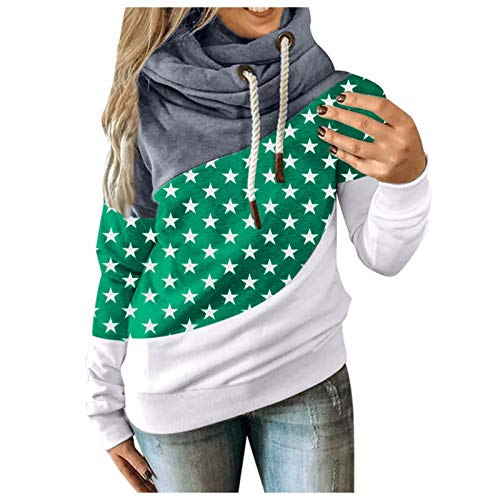 Fxkareiten Sudadera con capucha para mujer, de manga larga, para otoño e invierno, con capucha., verde, L
