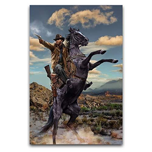Póster de Red Dead Redemption 2 lienzo artístico y mural impreso moderno para decoración de dormitorio familiar de 50 x 75 cm