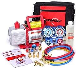 Kozyvacu Mini Split/HVAC/AUTO AC Repair Complete Tool Kit with 1-Stage 4.5 CFM Vacuum Pump, Manifold Gauge Set, Hoses and its Acccessories …