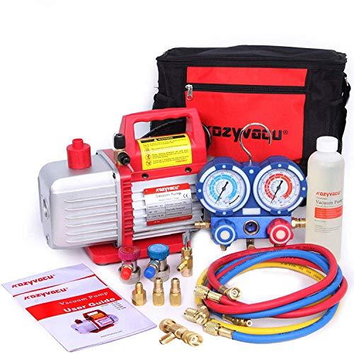Kozyvacu Mini Split/HVAC/AUTO AC Repair Complete Tool Kit with 1-Stage 4.5 CFM Vacuum Pump, Manifold Gauge Set, Hoses...