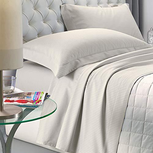 NuvolaNera Set completo lenzuola letto Delux in raso di cotone con federe – alta qualità effetto cangiante – 2 Piazze Matrimoniale - Beige