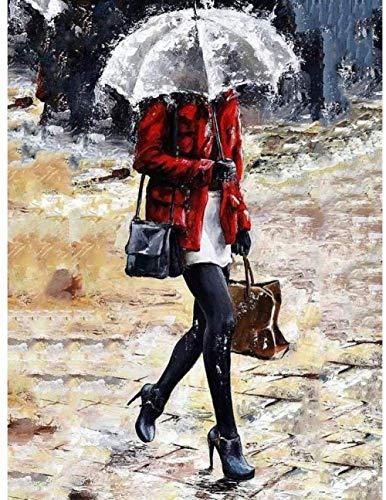 LSDEERE Malen Nach Zahlen DIY Vorgedruckt Leinwand-Ölgemälde Regenschirm des Mädchens regnerischer Tages 40x50cm Geschenk für Erwachsene Kinder Malen Nach Zahlen Kits Home Haus Dekor(Ohne Rahmen)
