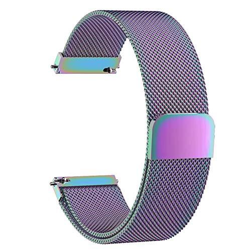 Uhrenarmband Verstellbares Edelstahlnetz Ersatz Uhrenarmband Atmungsaktive Magnetschnalle Ist Sicher Und Fest,Purple-14mm