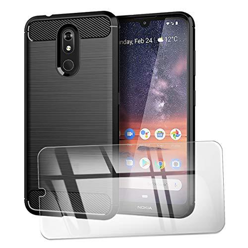 QFSM Verre trempé + Protection Coque pour Nokia 3.2 Fibre Carbonique Antichoc Cover Case Étui Silicone Noir Housse Shell with Verre écran Glass Vitre Glace