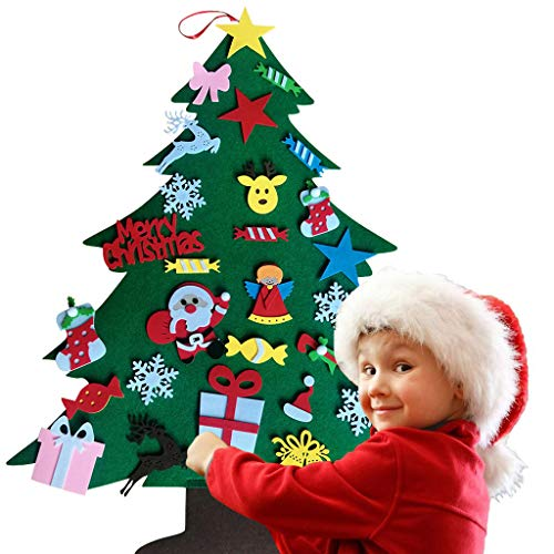 DIY Felt Christmas Tree Set Xmas Decorations Wall Hanging Ornaments Kids Gifts Party Supplie Door Decor (Multicolor, 3527.3 in)