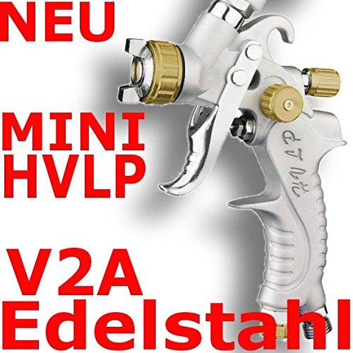 MINI HVLP Lackierpistole Spritzpistole 0,8mm V2A PROFI GOLD
